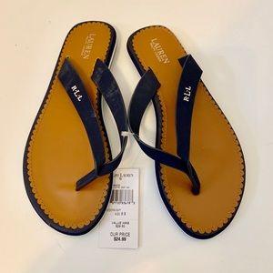 Shoes - NWT Ralph Lauren Fiip Flops Navy & Tan Sz. 8